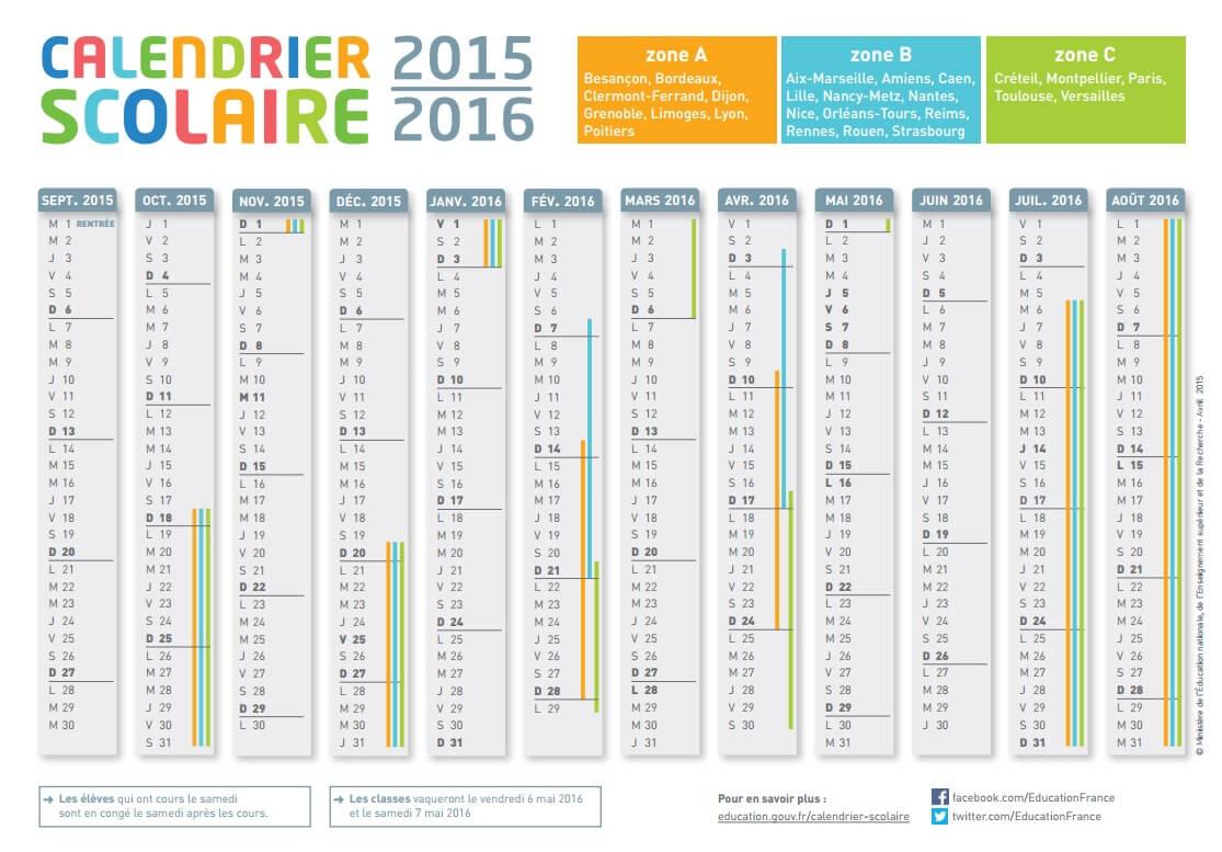 Calendrier scolaire 2015/2016