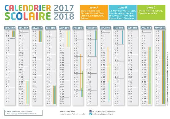 Calendrier scolaire 2017/2018